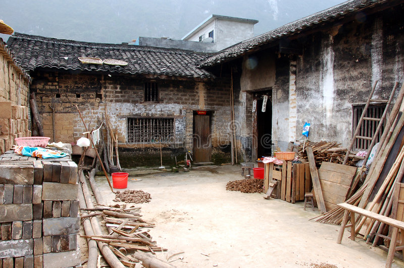 Inner court yard of a house in China. Inner court yard of rural house hold royalty free stock photo