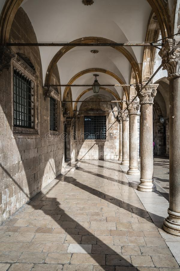 Inner courtyard and corridor in Dubrovnik Old Town royalty free stock images