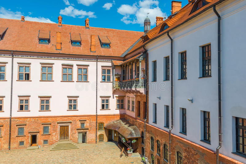 The inner courtyard of the castle complex Mir stock image