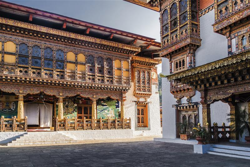 The inner courtyard of the dzong in Bhutan stock photos