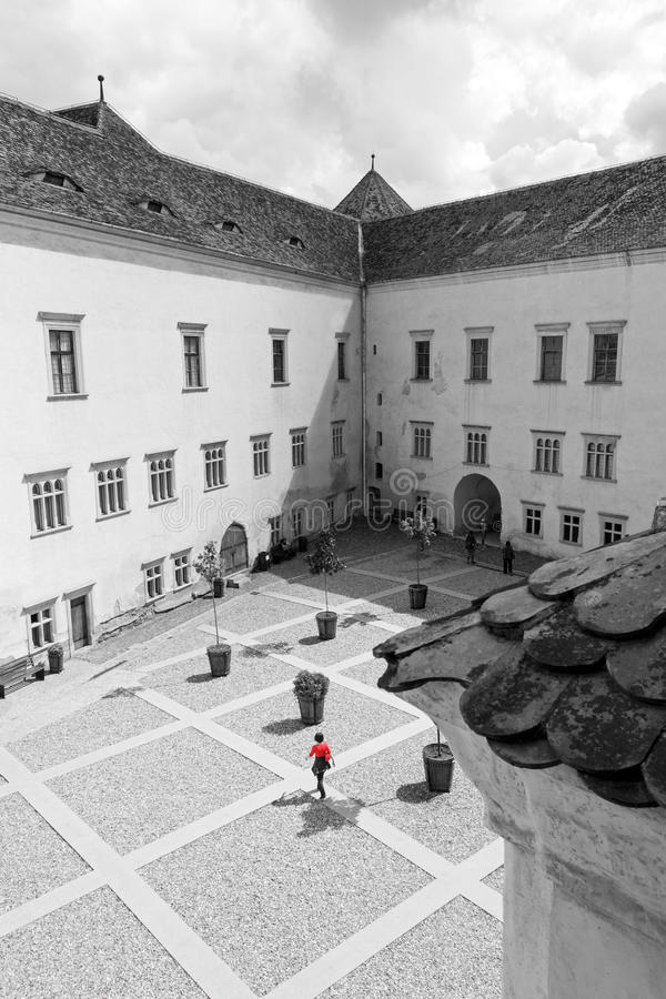 Inner courtyard of the Fagaras medieval fortress, Transylvania, Romania royalty free stock images