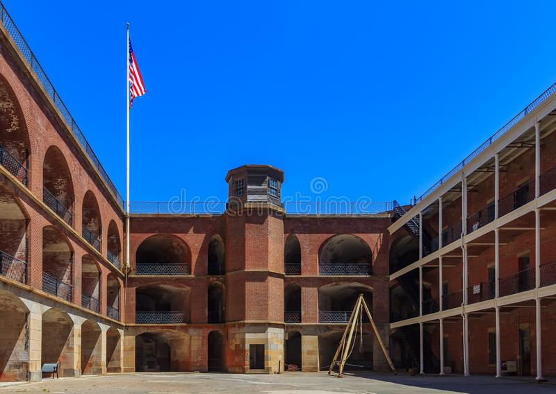 Inner courtyard of Fort Point National Historical Site and ligh royalty free stock image