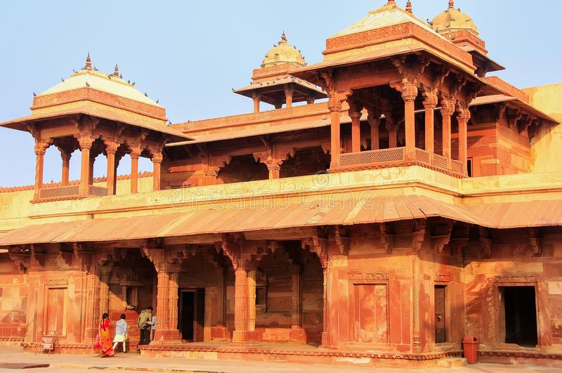 Inner courtyard of Jodh Bai Palace in Fatehpur Sikri, Uttar Pradesh, India. Fatehpur Sikri is one of the best preserved examples of Mughal architecture in stock photos