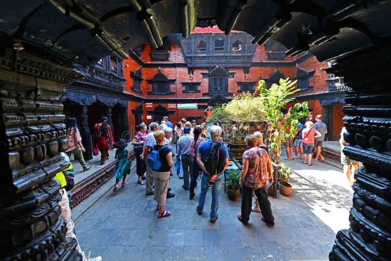 The inner courtyard of the living Goddess Kumari in Kathmandu, N stock image