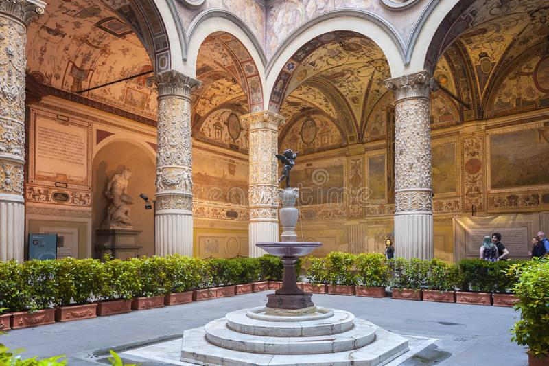 Inner courtyard of Palazzo Vecchio in Florence, Italy stock image