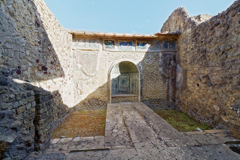 Inner courtyard of roman villa in herculaneum, naples. stock images