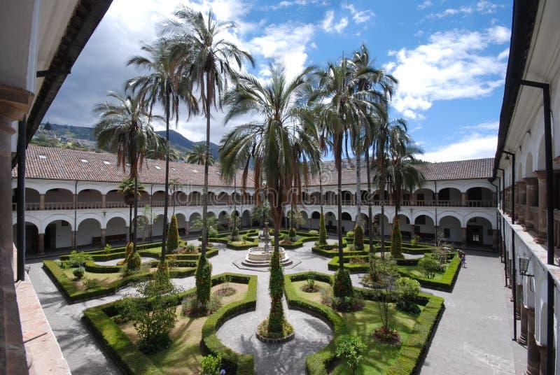 The inner courtyard of San Francisco monastery, Quito, Ecuador royalty free stock image