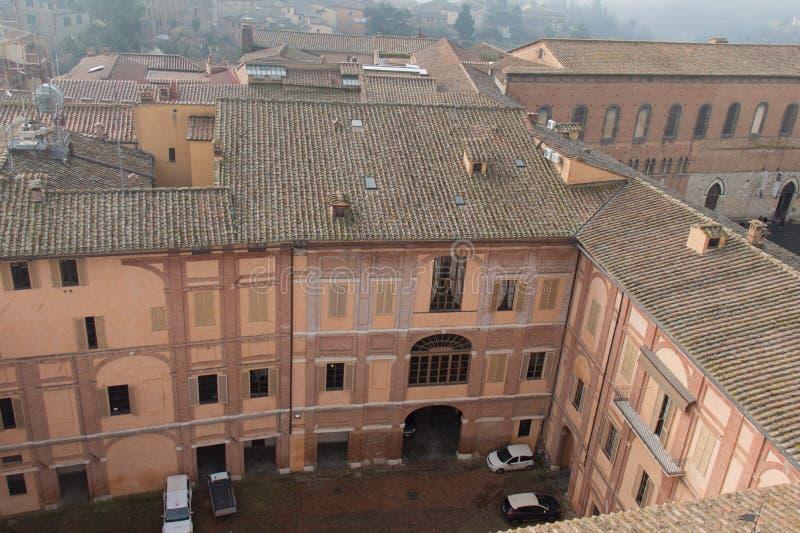 Inner courtyard of Santa Maria della Scala. Siena, Tuscany, Italy. stock photo