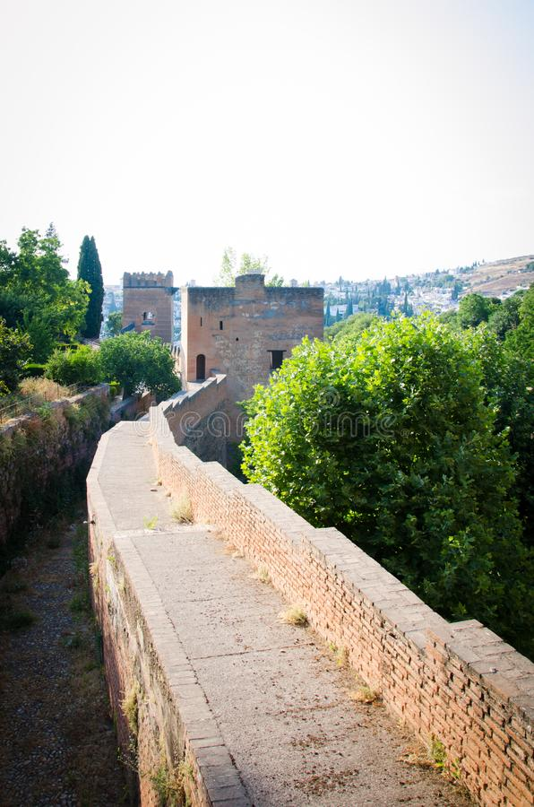 Inner detail of a wall of the Alhambra palace in Granada. Spain royalty free stock images