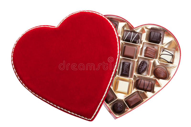 Inner-geformter Kasten Schokoladen lizenzfreies stockbild