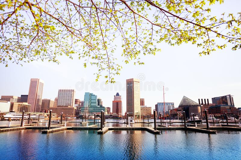 Inner Harbor and Baltimore skyline, in spring, USA. Inner Harbor and Baltimore skyline in spring, Maryland, USA stock photos