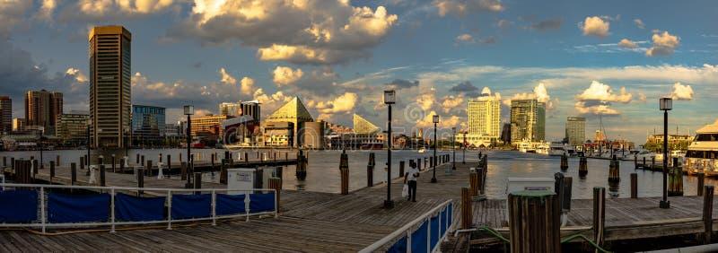 Inner Harbor docks panorama royalty free stock images