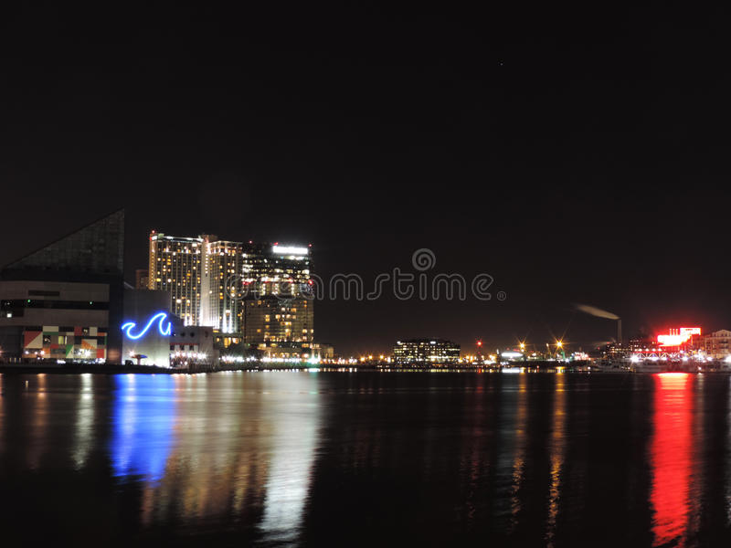 Download Inner Harbor at Night stock photo. Image of constellation - 39506222