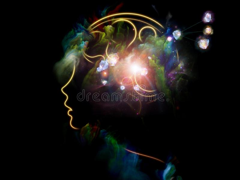 Inner Life of Human Mind. Color of Thoughts. Inner Nature series. Abstract design made of child`s mind illustration fused with fractal paint relevant for art stock illustration