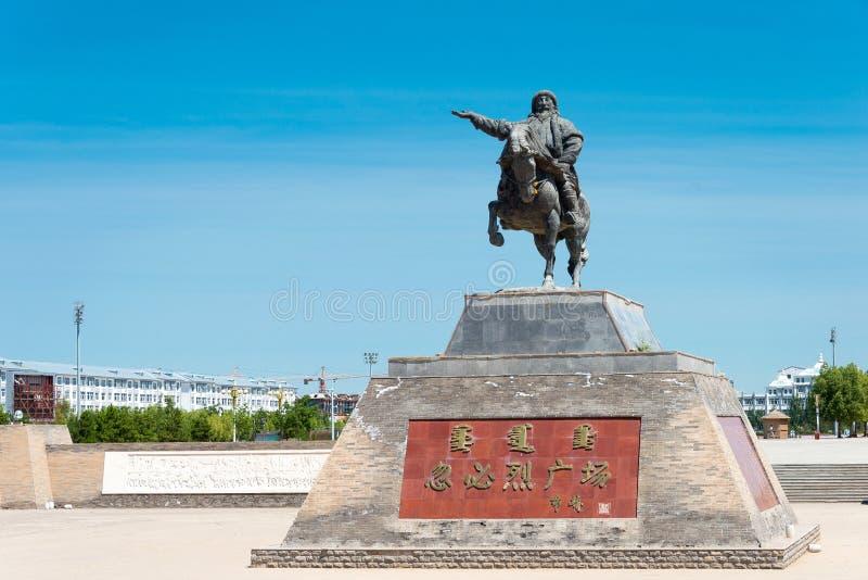 INNER MONGOLIA, CHINA - Aug 10 2015: Kublai Khan Statue at Kublai Square in Zhenglan Banner, Xilin Gol, Inner Mongolia, China. stock images