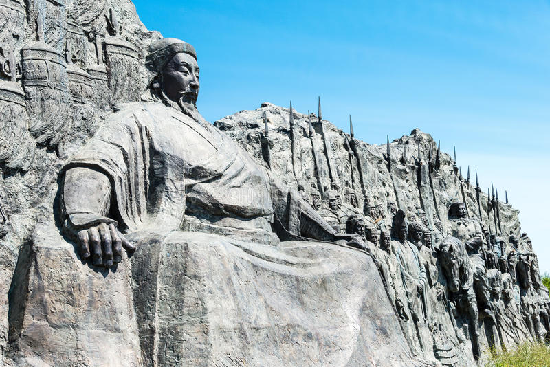 INNER MONGOLIA, CHINA - Aug 10 2015: Kublai Khan Statue at Site. Of Xanadu (World Heritage site). a famous historic site in Zhenglan Banner, Xilin Gol, Inner royalty free stock photos