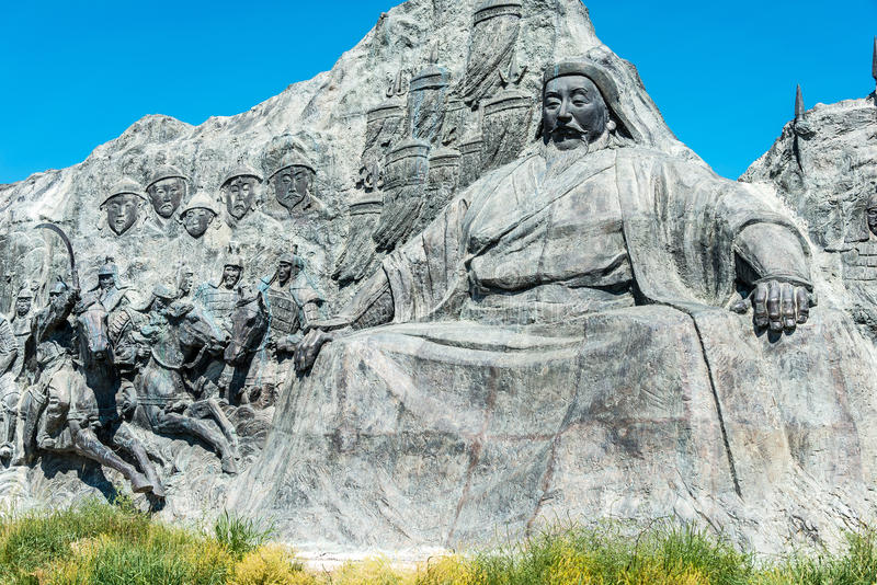 INNER MONGOLIA, CHINA - Aug 10 2015: Kublai Khan Statue at Site. Of Xanadu (World Heritage site). a famous historic site in Zhenglan Banner, Xilin Gol, Inner royalty free stock images