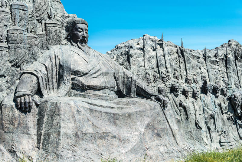 INNER MONGOLIA, CHINA - Aug 10 2015: Kublai Khan Statue at Site. Of Xanadu (World Heritage site). a famous historic site in Zhenglan Banner, Xilin Gol, Inner royalty free stock photo