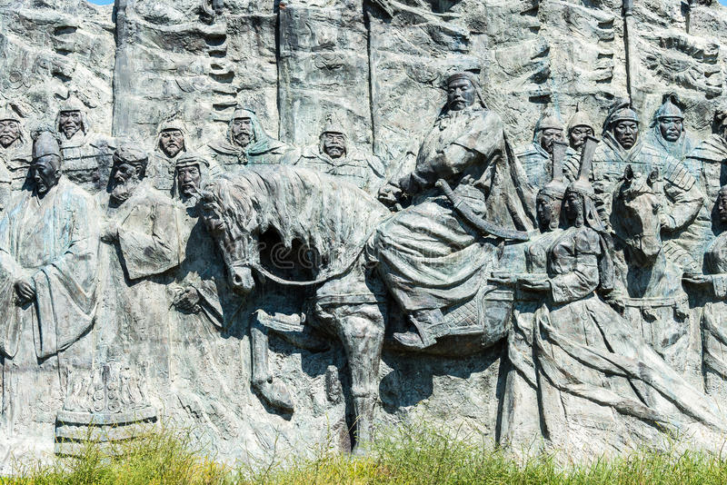 INNER MONGOLIA, CHINA - Aug 10 2015: Relief at Site of Xanadu (World Heritage site). a famous historic site in Zhenglan Banner, X. Ilin Gol, Inner Mongolia royalty free stock photo