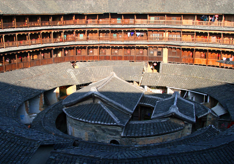 Inner part of round tulou `earthen house`, traditional communal residence of Hakka people. YONGDING, FUJIAN PROVINCE, CHIna - The inner part of round tulou ` royalty free stock photography
