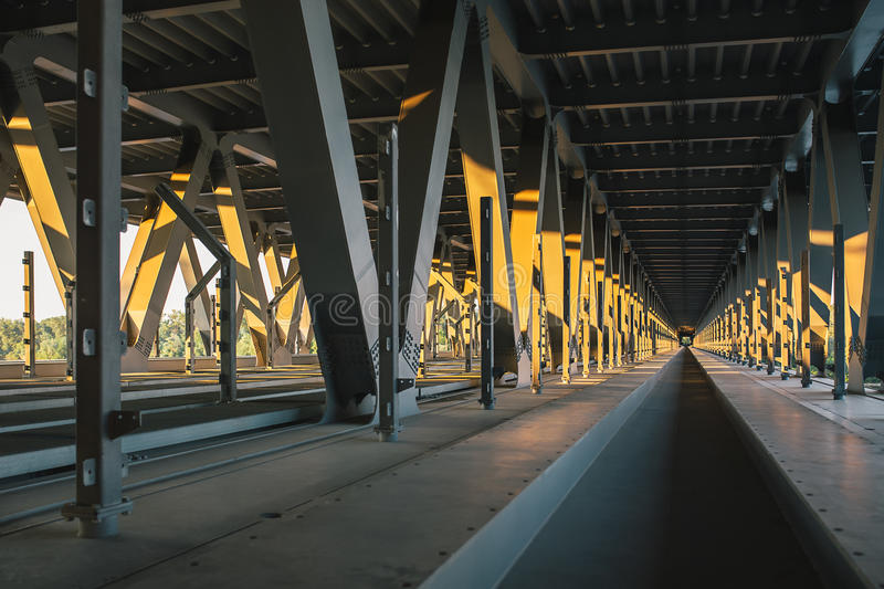 The inner part of the unfinished Podolsky bridge stock image