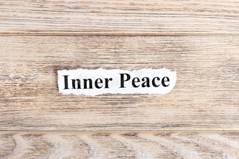 Inner Peace text on paper. Word Inner Peace on torn paper. Concept Image stock images