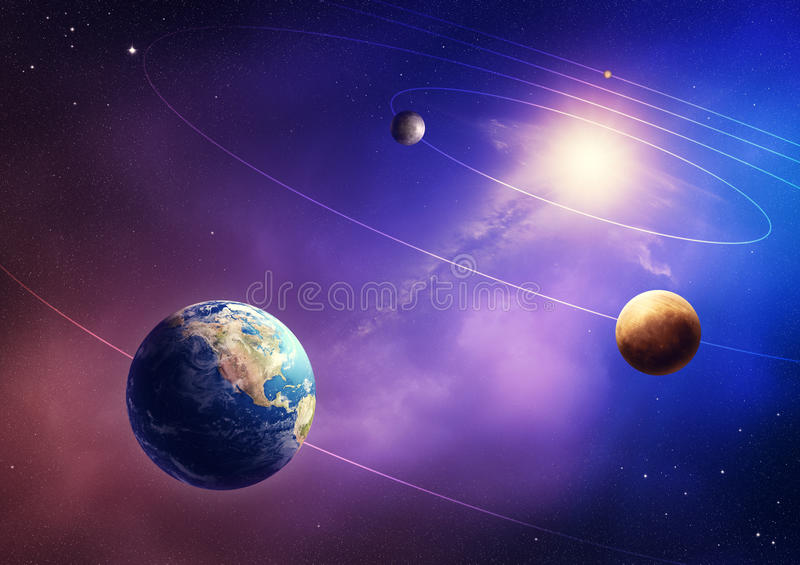 Inner solar system planets stock illustration