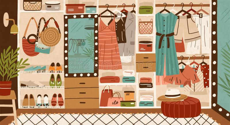 Inner space of closet or wardrobe. Female clothes or apparel hanging on hanger, garment rack or rail and lying on. Shelves. Clothing organization or storage stock illustration