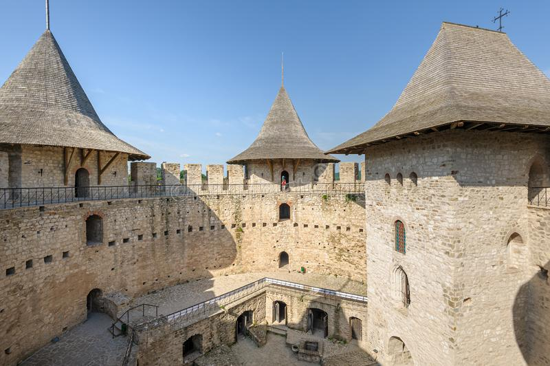 Inner space of medieval fortress in Soroca, Republic of Moldova stock photography