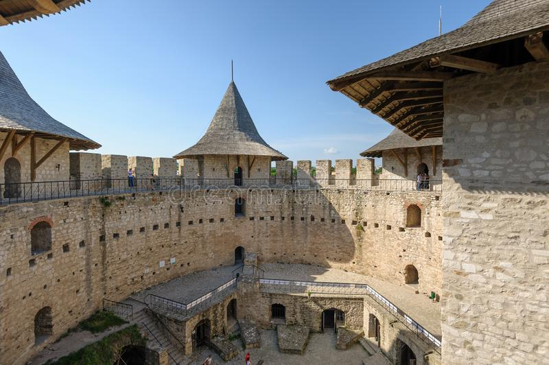 Inner space of medieval fortress in Soroca, Republic of Moldova stock image