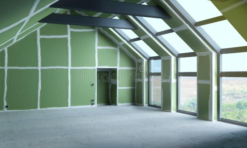 Inner space and room under construction. Inner space as construction site and room under construction stock photography
