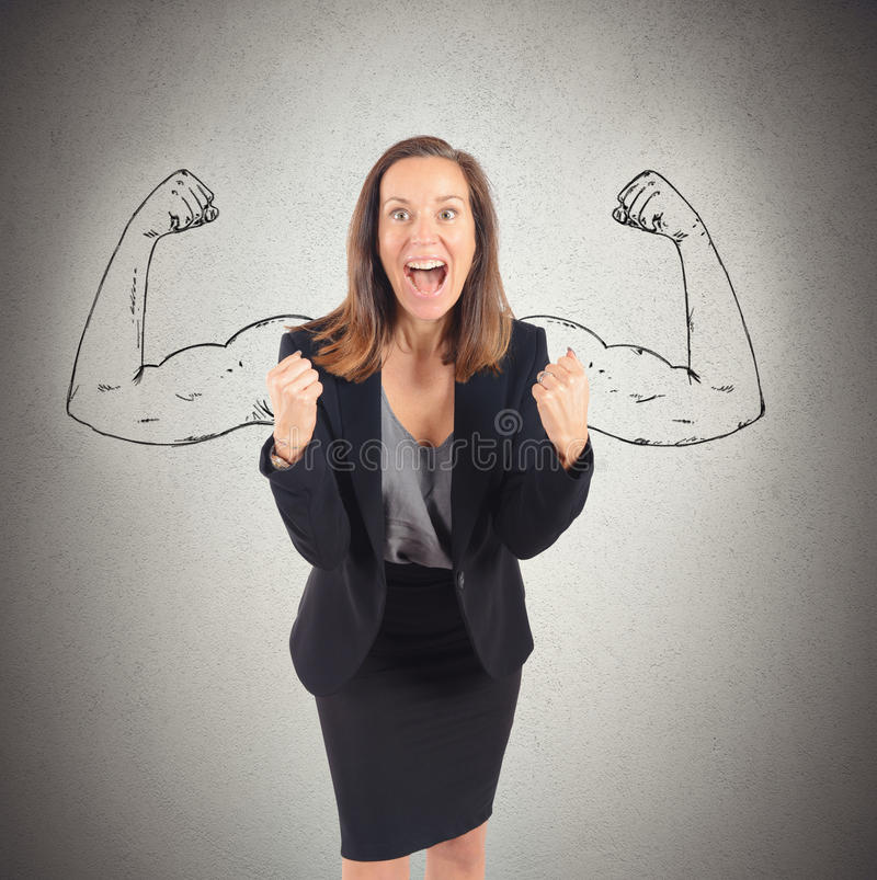 Inner strength. Businesswoman comes to success with inner strength royalty free stock photo