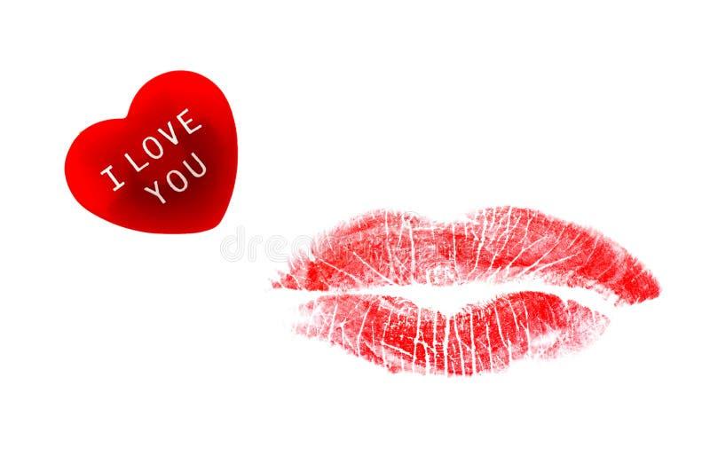 Inner- und Lippenstiftkuß stockfoto
