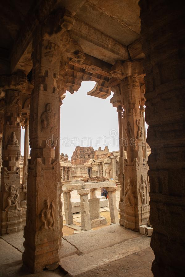 The Inner view of Ineriors and ceilings of Vittala or Vitthala Temple in Hampi, Karnataka state, India.  royalty free stock photo