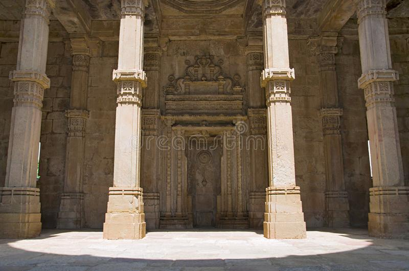 Inner view of Kevada Masjid Mosque, UNESCO protected Champaner - Pavagadh Archaeological Park, Gujarat, India. Inner view of Kevada Masjid Mosque, has minarets royalty free stock photo