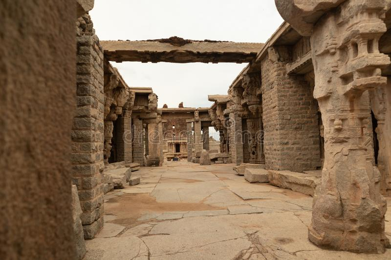 The Inner view of ruined Interiors and ceilings of Vittala or Vitthala Temple in Hampi, Karnataka state, India.  royalty free stock photography