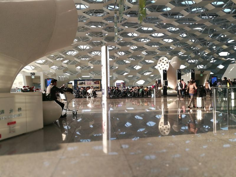 Inner view with the special details artwork in Shenzhen Baoan Airport stock photos