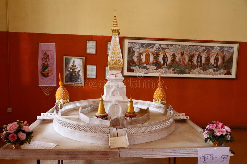 Hinayana Buddha temple, Sarnath. Inner view of the Thai Temple, the Hinayana Buddha temple at Sarnath with the statue of Lord Buddha & others stock photos
