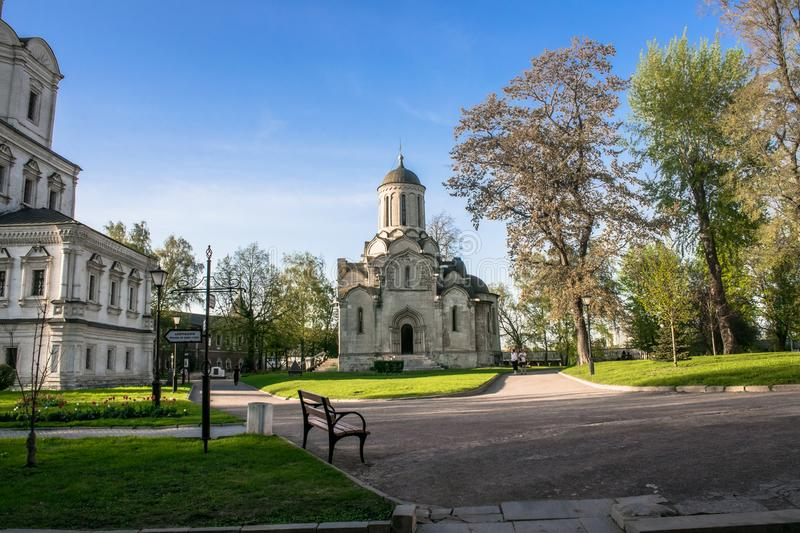 Inner yard of the Andronikov monastery. Spassky Cathedral and fragment of the Church of Archangel Michael, Moscow. stock image