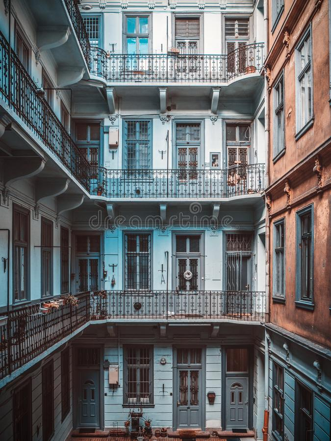 Inner yard of old historical apartment building in Budapest city, Hungary royalty free stock images