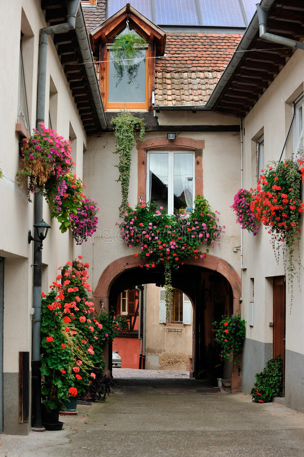 Inner yard scene at Ammerschwihr, France royalty free stock photos