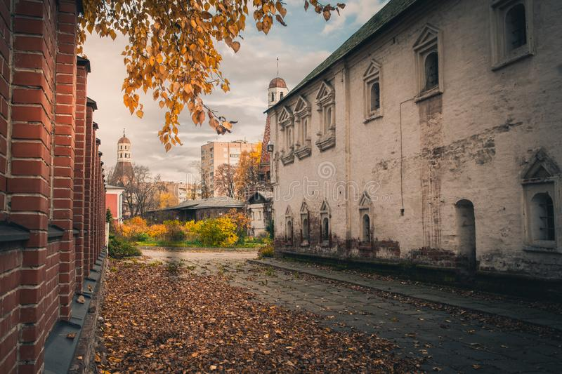 An inner yard of Simonov Monastery, Moscow, Russia stock photo
