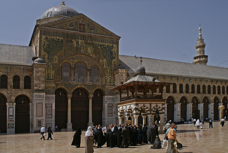 Innercourt Omayade Mosk в Дамаске - Сирии стоковая фотография rf
