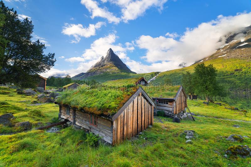 Norwegian houses with peat roofs stock photography