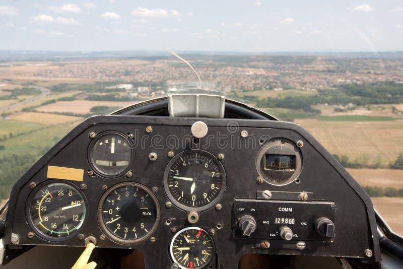 Innere Ansicht in ein Segelflugzeug stockbilder