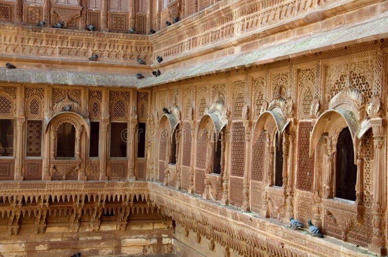 Innere Wand von Mehrangarh oder von Mehran Fort, Jodhpur, Rajasthan, Indien lizenzfreie stockfotografie