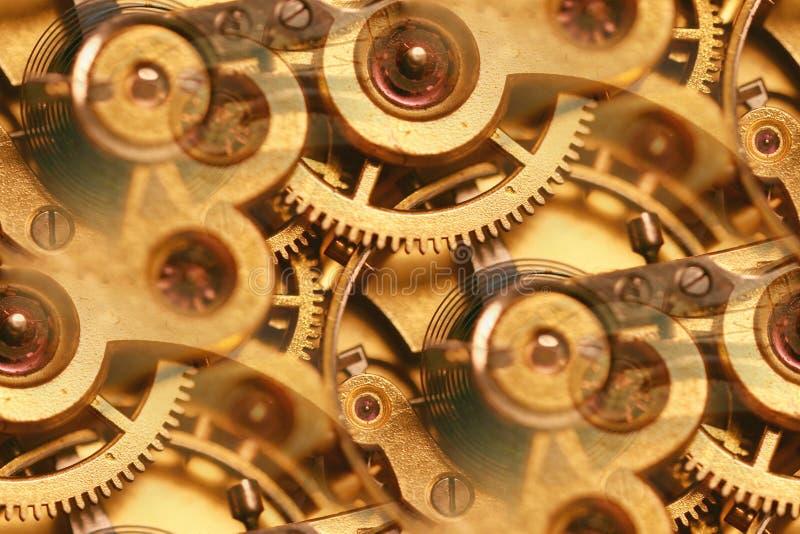 Innerer Funktionsauszug der antiken Uhr lizenzfreie stockbilder