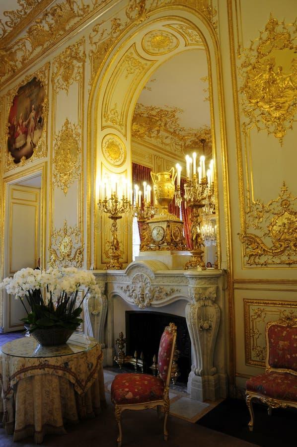 Innerer herrlicher königlicher Palast mit Kamin lizenzfreies stockbild