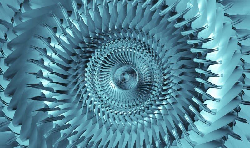 Innerer metallischer hellblauer Tunnel Abstrakter futuristischer Hintergrund stockbild