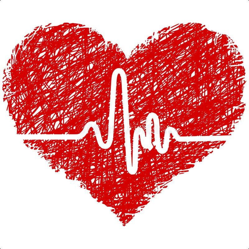 Inneres mit Cardiogram lizenzfreie abbildung
